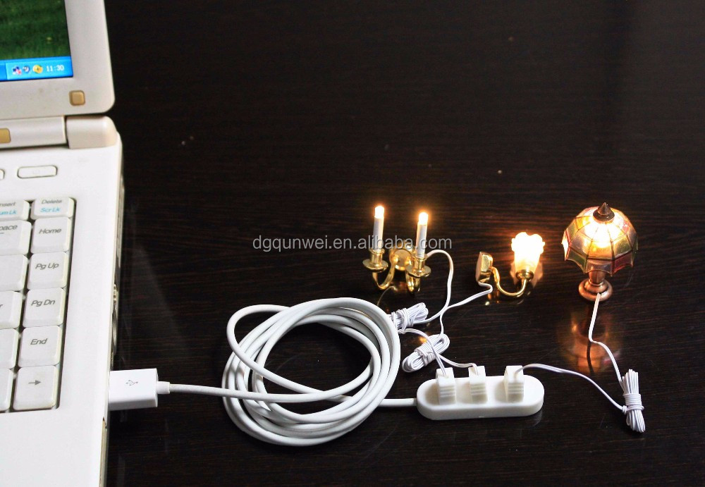 Dollhouse miniature luxury living room ceiling lights with mutiple arms an tulip fog glass shade