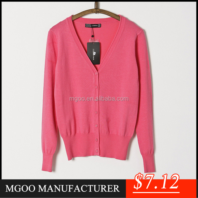 MGOO Cheap Price Stock Merino 100% Cotton Women Cardigan Sweaters Long Sleeves Melon Red Plain Outwear