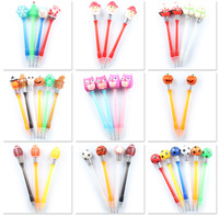 Promotional novelty lovely multi animals light bulb ball pen plastic led pens with 2 ball refill ink color 2 in 1 ball pen