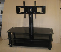 Modern plasma glass tv stand with iron mount