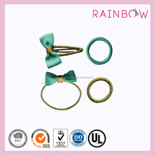 Glitter bow hairclips &ponyband set for girls hair accessories in china