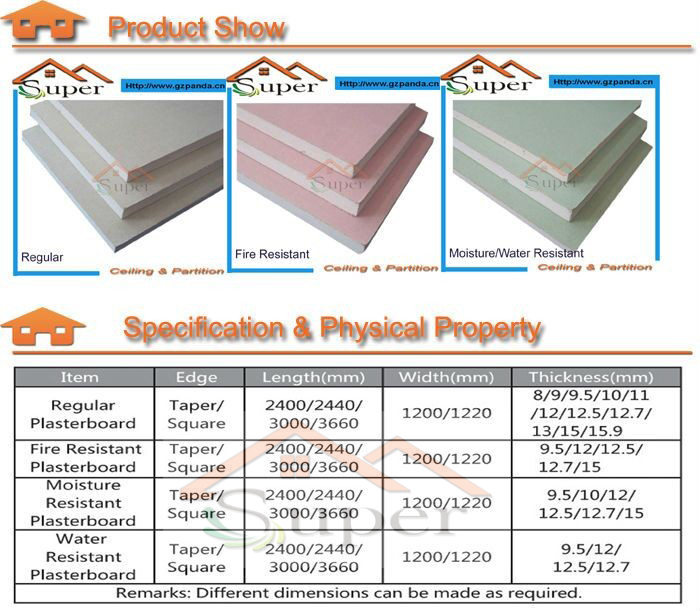 Gypsum Board Thickness : Mm environmental protection fireproof gypsum board