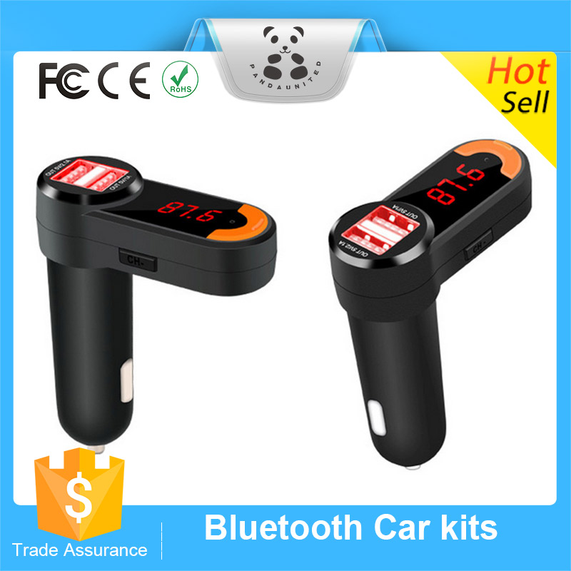 Promotional Wireless Bluetooth Hands-free MP3 Player FM Transmitter Dual USB Car Charger Bluetooth Car Kit