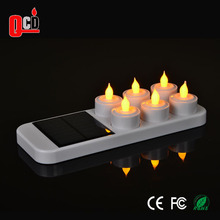 Solar rechargeable LED candle light with frosted cups