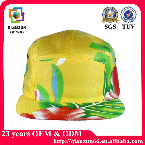 Blank wholesale flower 5 panel cap,fresh prince style 5 panel hats