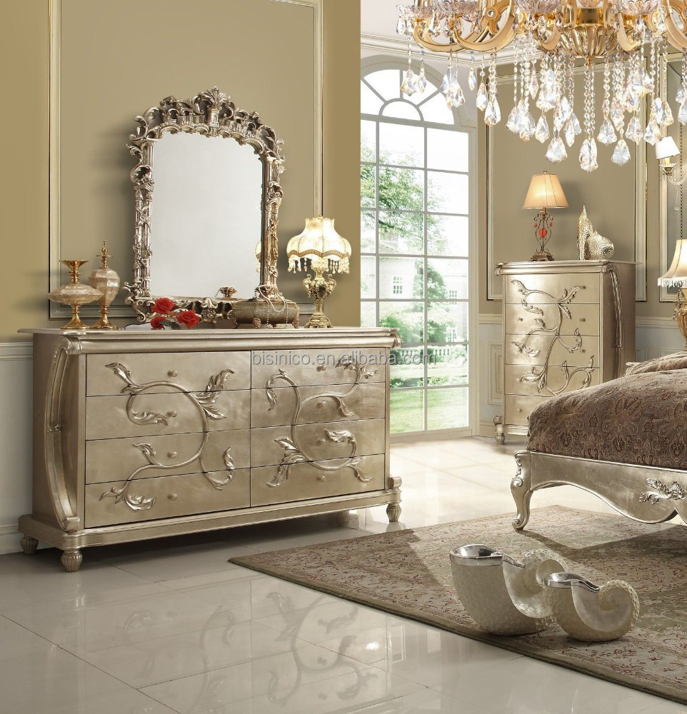 Royal european style wooden bedroom set with gold leaf for European style bedroom