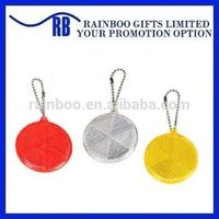 High quality hot selling round shape plastic safety reflector with keychain with logo printing for promotion ABL403