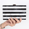 old fashion pearly lustre joint stripe acrylic box clutch evening bag