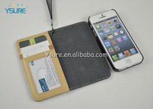 Detachable two mobile phones wallet PU leather case cover for iphone5 5s with lanyard strap sling