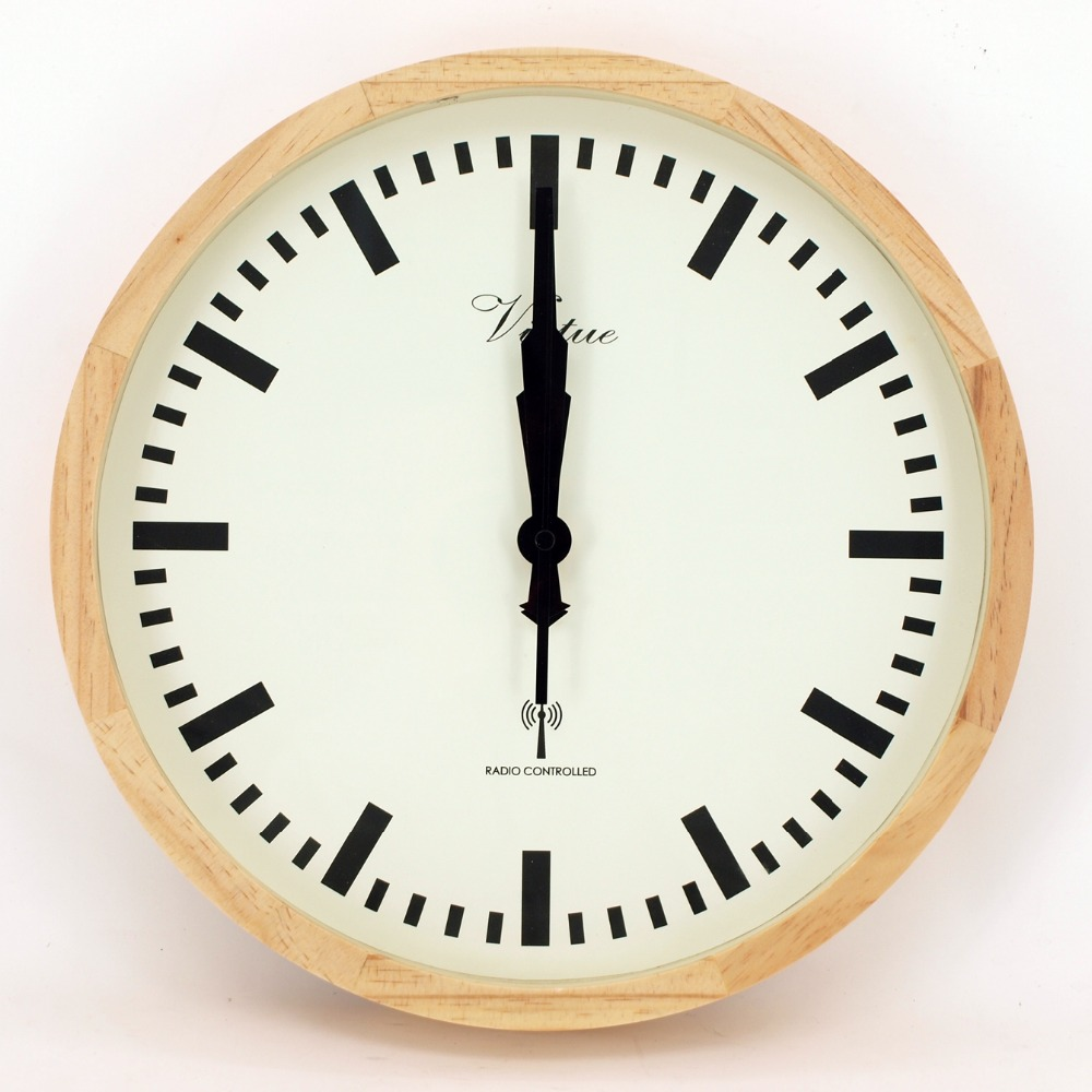 wood frame radio controlled wall clock