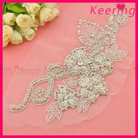 New fancy bridal pearl and crystal rhinestone applique in patches WRA-474