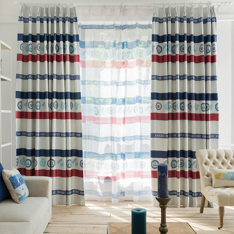 wholesale classic American and British flag color voyage element blackout fabric curtain design with stripes