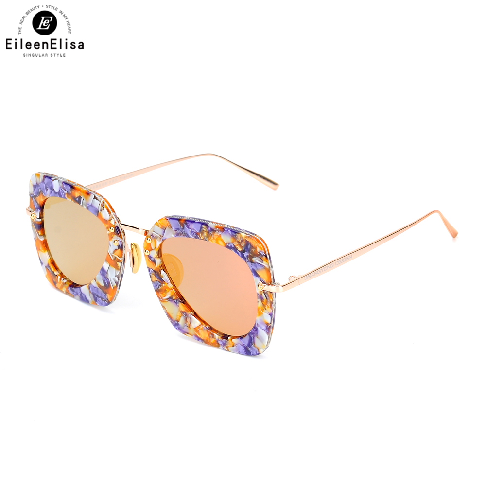 EE 2017 Fashionable Square Frame Mirrored Orange Lens Acetate Sunglasses