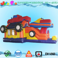 inflatable monster truck bounce house with inflatable bumper car obstacle for kids