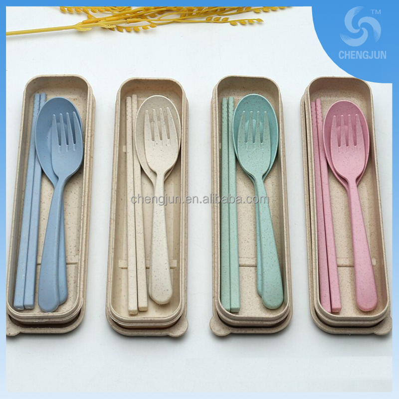 Hot sale plastic wheat spoon fork chopsticks sets
