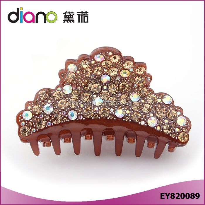 Top Quality Acetate Rhinestone Hair Claw Clip for Women Luxury Jewelry for Hair
