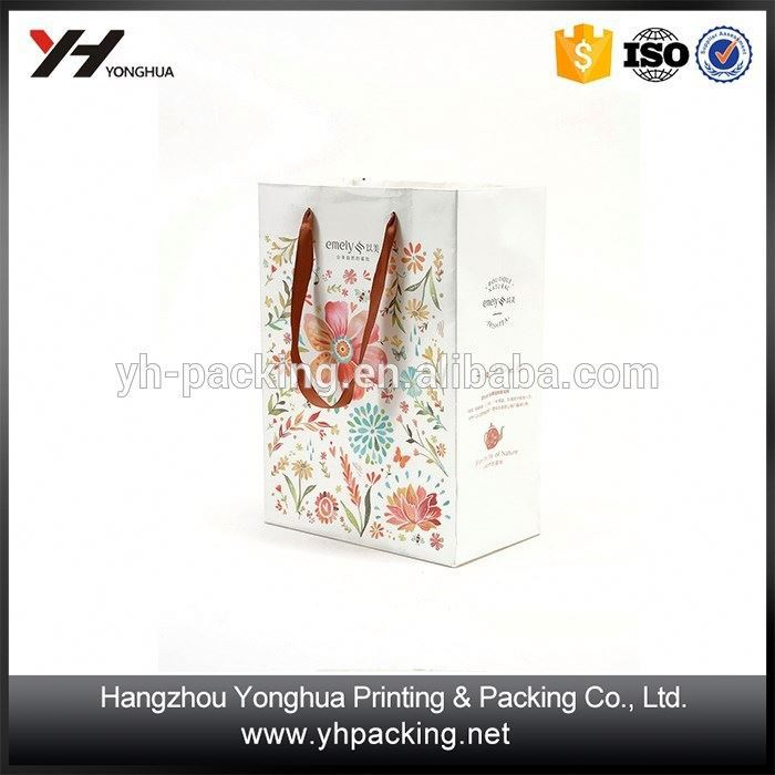 Paper shopping Gift Bag White Kraft Nylon Handle Paper Bags