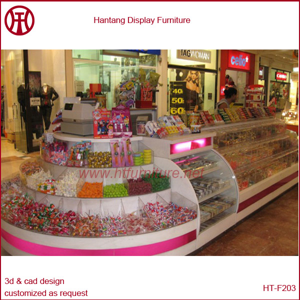 China customize & OEM mdf candy selling kiosk with your logo/tempered glass/light box