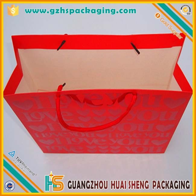 pink cute red drawstrings happy birthday paper gift bag for children