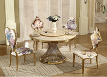 Golden stainless steel round dining table designs for wholesale DH-826