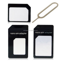 3 in 1 Set Black Nano & Micro SIM to Standard SIM Card Adapter For iPhone 4 4S 5 5S 5C