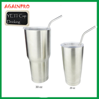 18/8 Reusable Stainless Steel Drinking Straws for 20 oz & 30 oz RTIC Brand Ramblers Tumblers Cups Bent and Straight