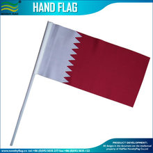 75D Polyester 14*21cm Plastic Pole Country Qatar Hand Flag