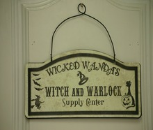 "Metal Notice Board with Words"" Witch and Warlock Supply Center"" for Halloween Home Decoration"
