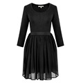 Hot sell high quality long sleeves boat neck one piece girls party dresses