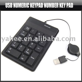 USB Numeric Keypad Number Key Pad Retractable USB Cable,YAN103A