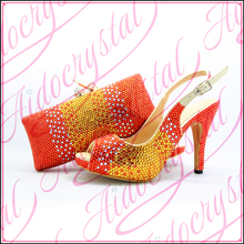 Aidocrystal High Heel Party Italian Shoes and Bags Set to match with Stones