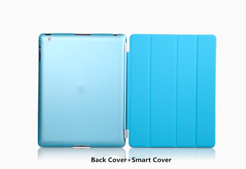 Protect Shell For Apple iPad Air 2 Smart Cover Case Original Imitate Leather Front Cover Matte Back Case for ipad 6
