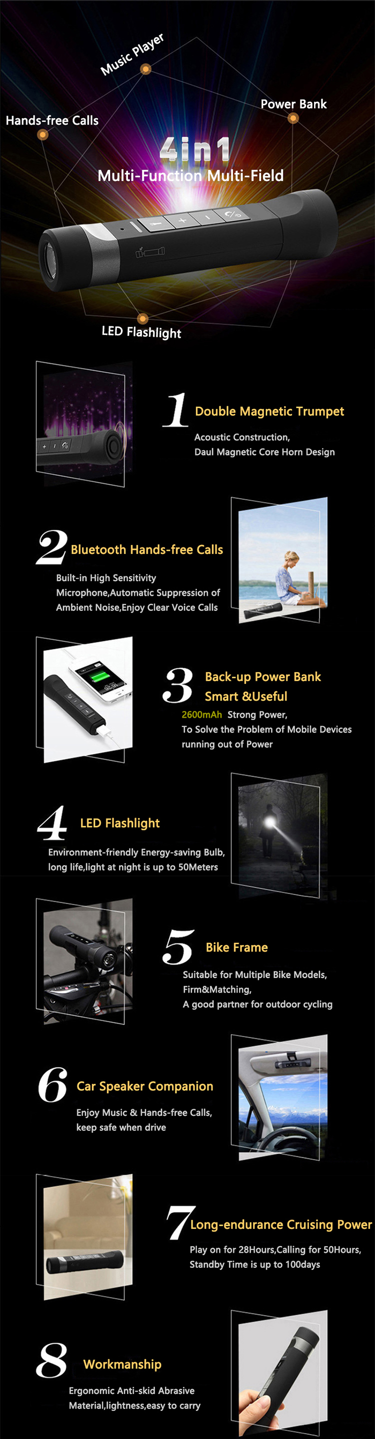 hand torch Outdoor Portable 4in1 Power Bank Wireless Speaker 2600mAh Led Flashlight Torch