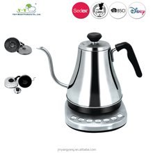 2017 pour over coffee 110v 220v cool handle stainless 1liter electric gooseneck kettle