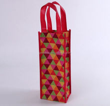 Cheap bulk reusable recycled laminated non woven tote bottle wine bag