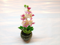 Light pink clay flower design orchid, hand-made in Thailand factory
