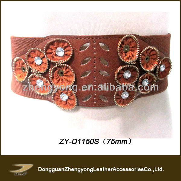 2013 Ladies fashion wide elastic with rhinstones womens belt
