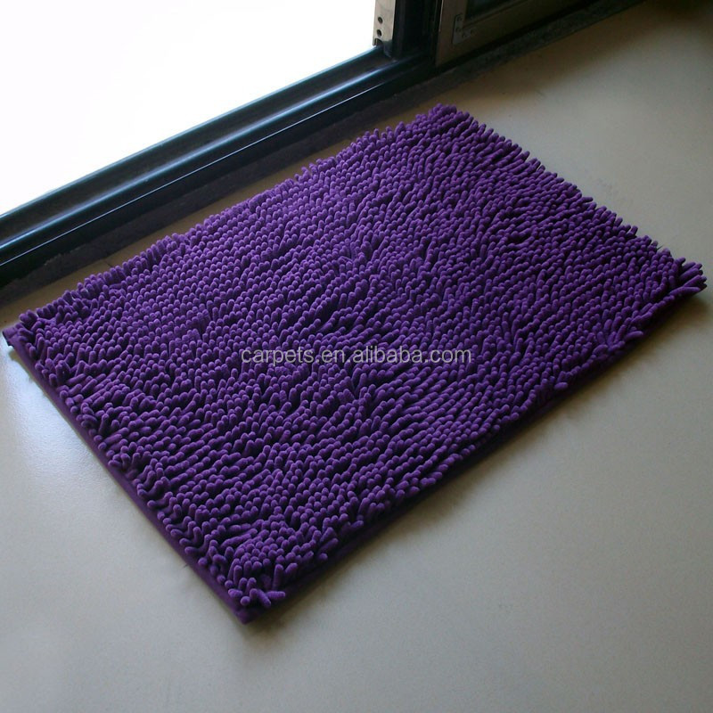 waterproof purple color shaggy silk polyester carpet