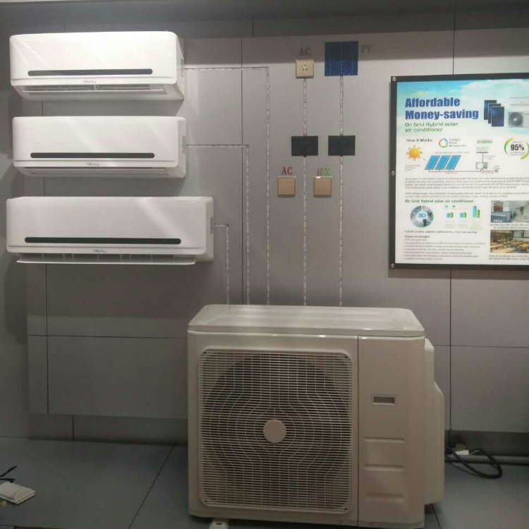 High quality reasonable price <strong>AC</strong>/DC hybrid dual power solar air conditioner for home use