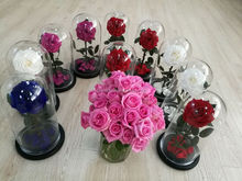 Hot sale Preserved rose big rose 9 to 10cm in glass dome 15*30cm long time lasting flower