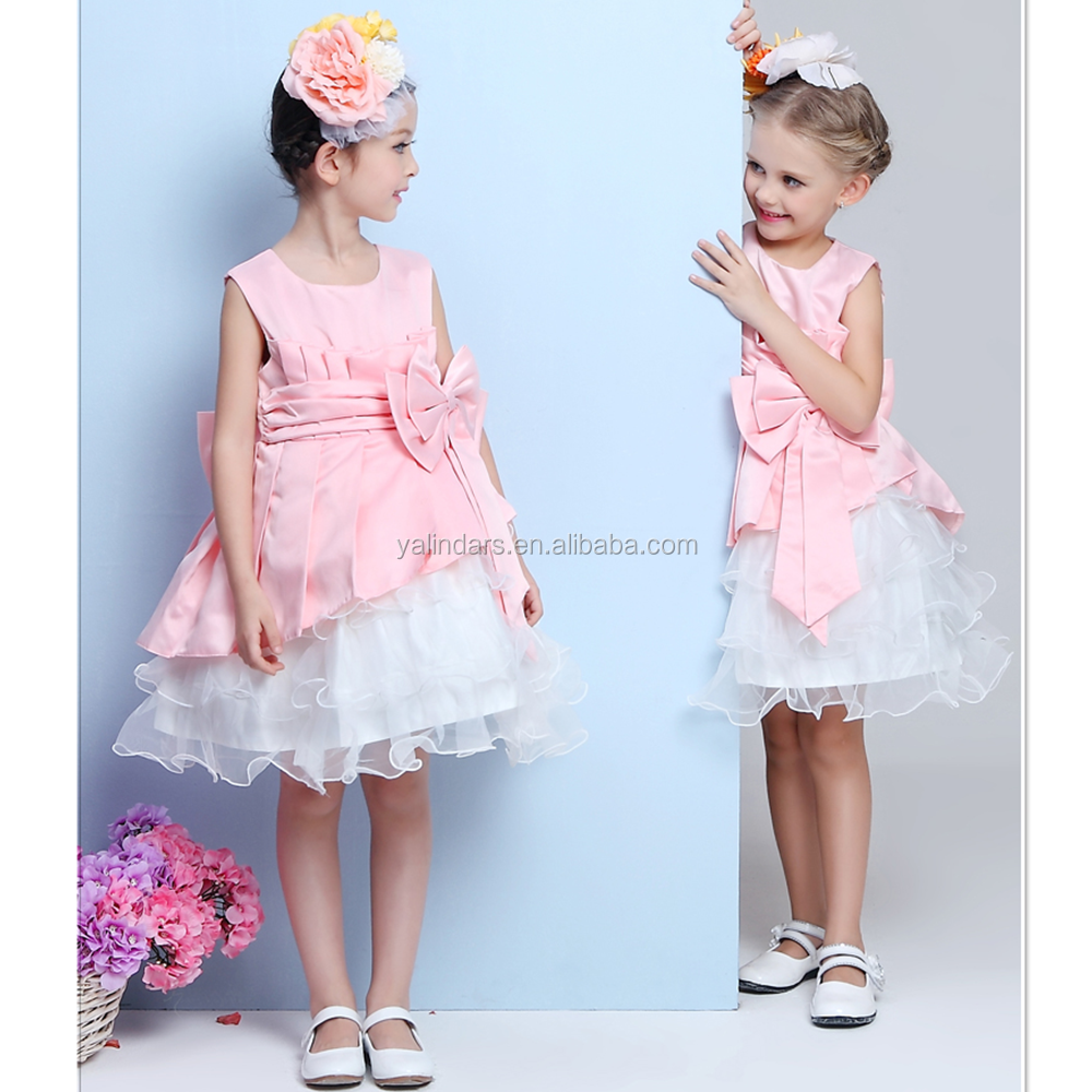 2017 Fashion Baby Frock Design Frill Children Girl 7th Birthday Party Dress for Teenage Girls