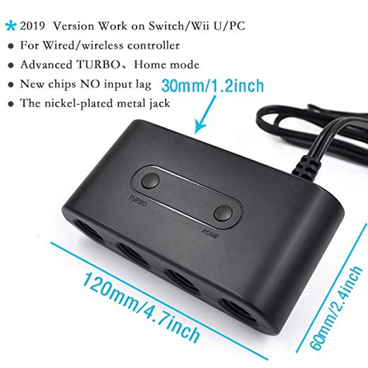 Gamecube Controller Adapter Switch with Turbo and Home Button for Wii U,Nintendo Switch and PC USB with 4 Slots