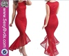 No MOQ Sexy Net Long Red Color Cocktail Dress