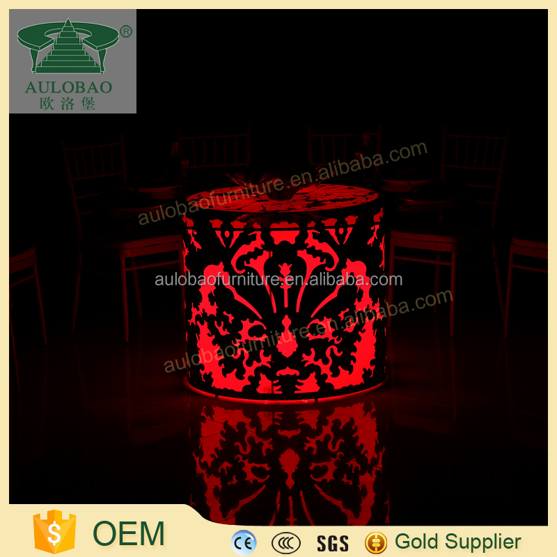 Popular selling LED light modern round glass table base for banquet dinning