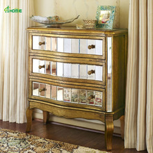 Crisanto Antique Gold Paint Mirrored Hall Way Chest with 3 Drawers