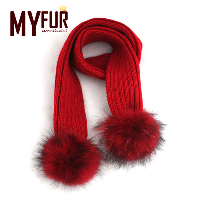 Unique New Raccoon Fur Wool Knitted Winter Baby Scarves With Two Detachable Raccoon Fur Pom Poms