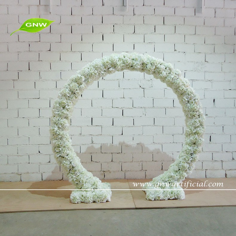 GNW FLW1603002-G Cheap Wholesale High quality Artificial flower arch with Wedding Bakedorp Decor