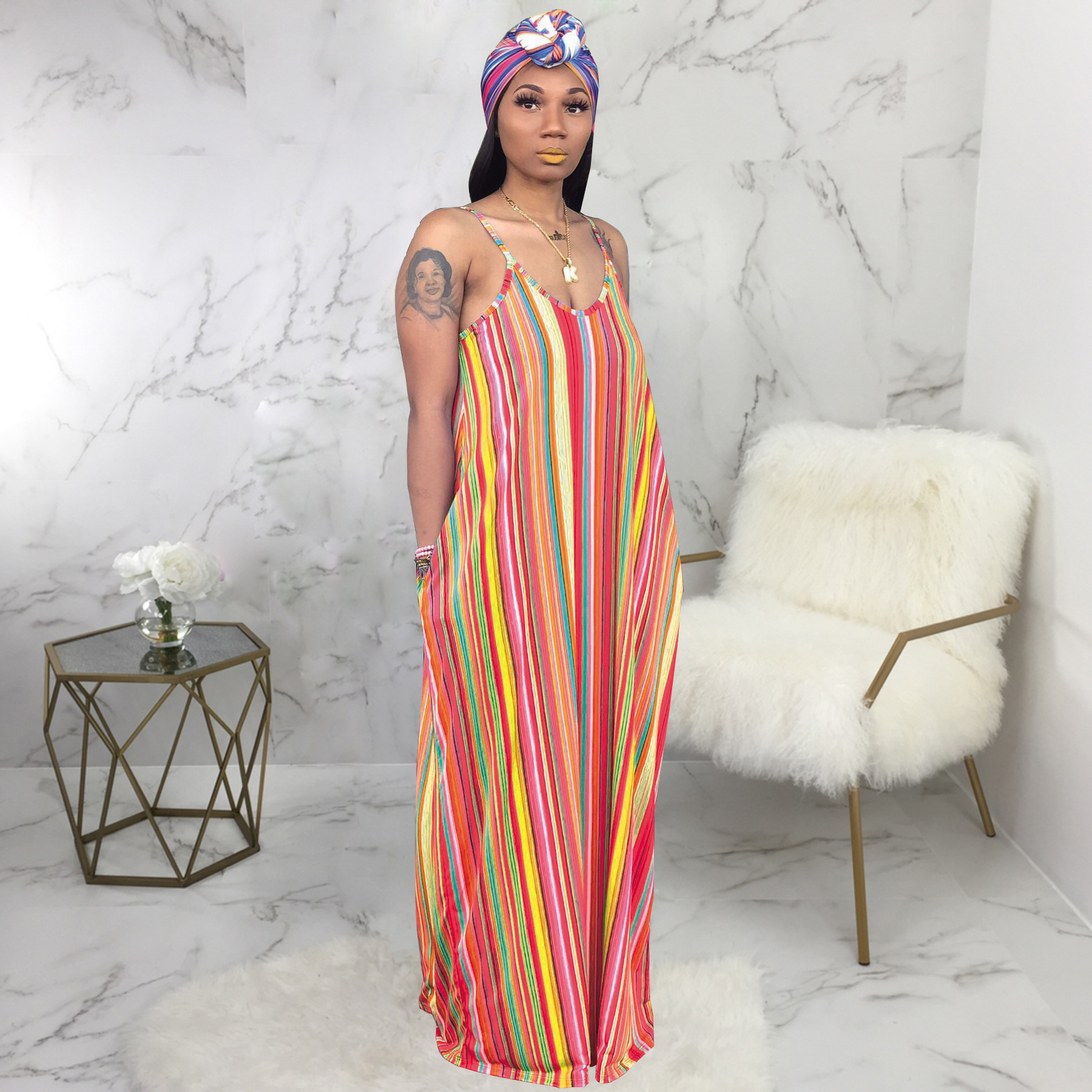 fashion  striped women maxi dresses casual 2019 V Neck loose Long maxi dress summer