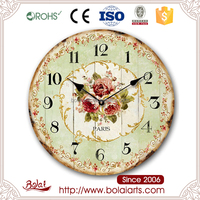 Paris classic light green center cover red roses wall clock for auto show