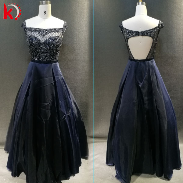 Handmade nail beaded backless dress with short sleeves for evening dress 2016